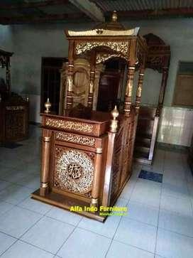 Mimbar masjid kayu jati 012