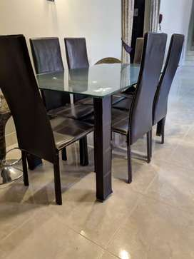 6 chairs Leather Dining Table