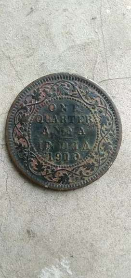 old coin one quarter anna 1910