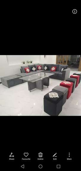 L shape 9 seaters along with dining table