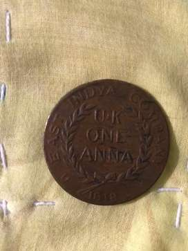 1818  rare coin east india company no rice it is simple without power