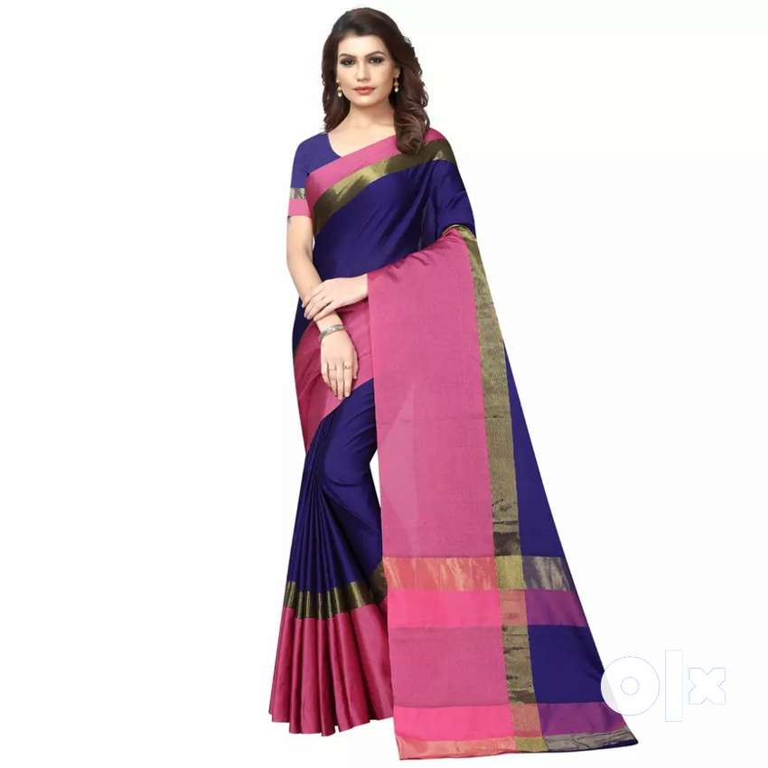 Woman cotton saree with blouse 0