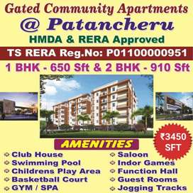 At Pati( Patancheru) Gated Apart 1,2&3 Bhk Flats for sale