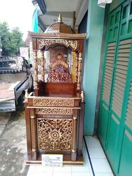 Mimbar masjid tempat kotbah material kayu jati AJF62