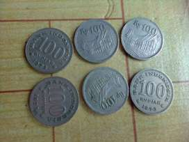 Uang 100 logam tahun 1973 dan 1978