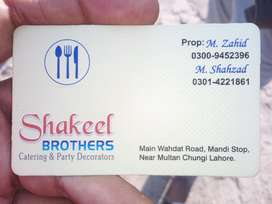 Shakeel Brothers Catering & Party Decorators Giving Services In Lahore