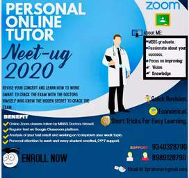 PERSONAL ONLINE TUTOR TO CRACK NEET UG 2020 WITH THE EXPERIENCE DOCTOR