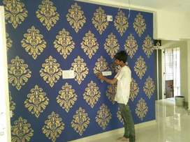 Wallpaper and carpet all tip ceiling work