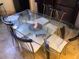 Imported Glass 6 seater dining table