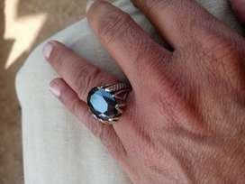 Stone with silver ring