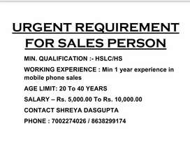 Urgent requirement for sales person in mobile shop