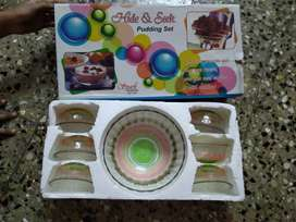 new designed half set glass bowl pudding set