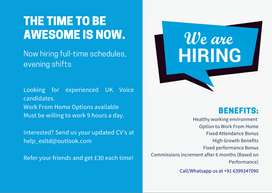 Hiring UK Voice Experienced Candidates