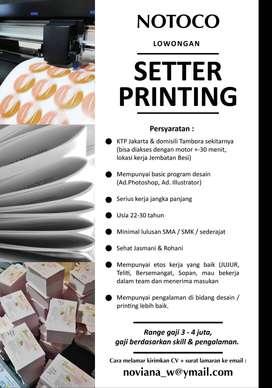 Setter Printing (hanya untuk domisili tambora sekitarnya)