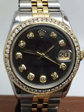 Rolex boysize 18KSS Black Pearl Diamond bezel