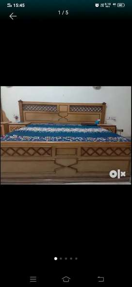 Teak wood double bed with dressing