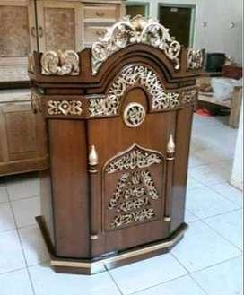 mimbar masjid podium kayu jati mirah