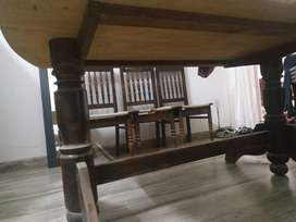 Old dining table with six chairs cainings