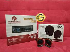 PAKET Tape Mobil INTERSYS INT 5233BT DVD BLUETHOOT +Tweeter HIFINE