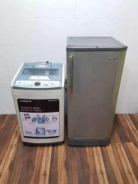 Samsung 190ltr single door fridge n automatic washing machine