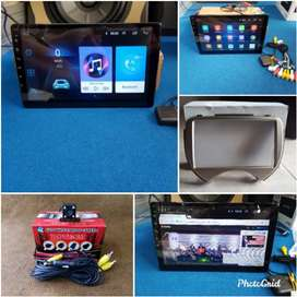 Hu Android 9in + frame buat Nissan March kamera