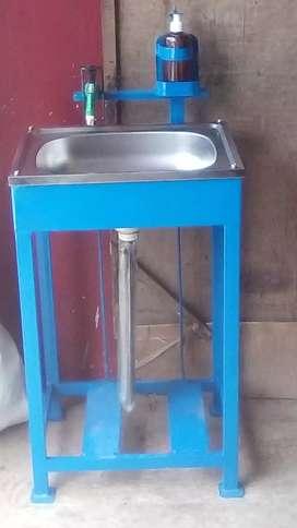 Wastafel portable bahan besi hollow praktis, hemat, berkualitas
