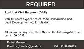 Resident Civil Engineer  Required