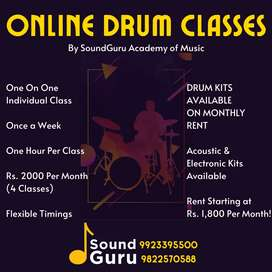 Online Drum Classes - Drum Kit Available on Rent