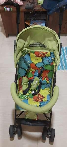 LuvLap Tutti Frutti Baby Buggy - Green Stroller