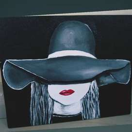Girl hiding under a hat painting