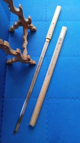 Pedang Katana Shirasaya Kanji Costum, Sarung Bolong, Gagang 2 Pasak