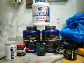 Suppliments Protein, weight gainer, pre workout, pro workout/ creatine