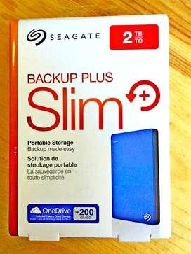 100% petty pack Seagate 2TB USB 3.0 Slim (Blue) with Warranty