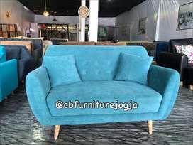 sofa tamu 2 seater, ready kain Bludru