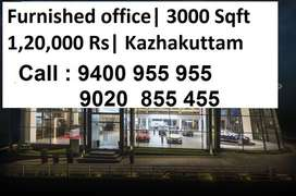 A/c furnished space kazhakuttam 3000 Sqft |  Lift Available