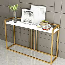 White Console Table Modern Narrow Console Table Rectangle Gold Finish