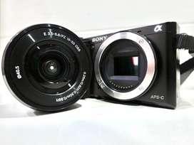 Mirrorless Sony a6000 Kit 16-50mm (Hitam) Full Set