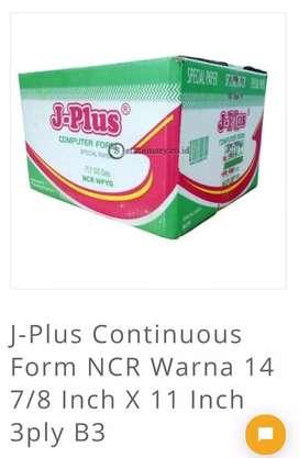Kertas continuous j-plus 3ply ukuran 14 -7/8-11