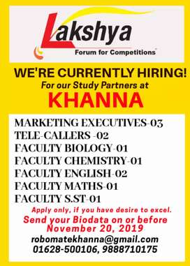 Lakshya Institute, Khanna needs staff for the Session 2020-21