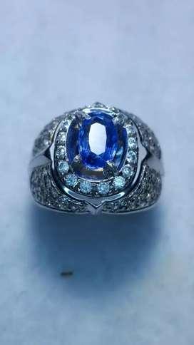 Blue Safir Sri Lanka est 2 crt Full Luster Ring Silver