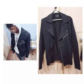 Original Zara Man Black Denim Biker Jacket