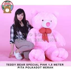 Teddy Bear Pink Special 1,5Meter Pita Polkadot Merah