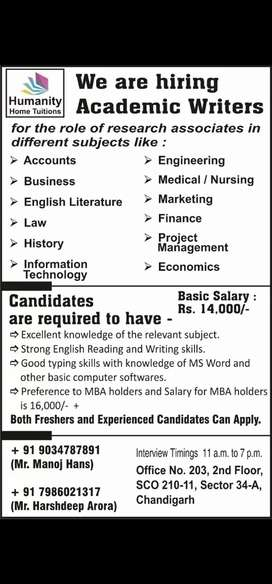 ACADEMIC WRITERS REQUIRED FOR ASSIGNMENT WRITING