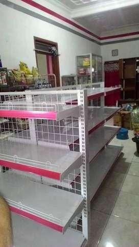 rak gondola lebar kuat baja supermarket minimarket toko rapi