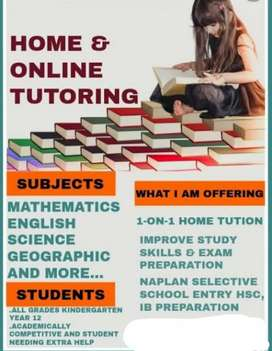 Tuition taken for KG classes to 8th std for all subject