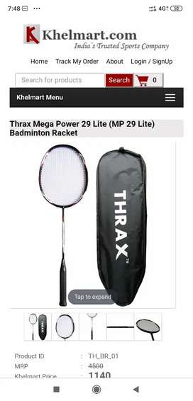 Thrax mega power 29 lite badminton racket one month old