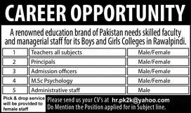 Male/Female Teachers and  Staff Required