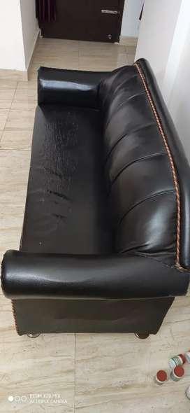 Black rexin sofa