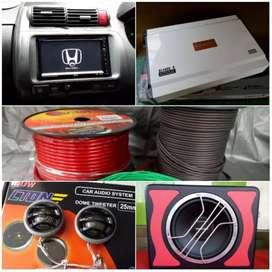 Paket audio TV + Power Subwoofer untuk Honda jazz