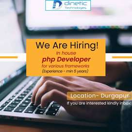 Urgently required in-house PHP developer for various frameworks